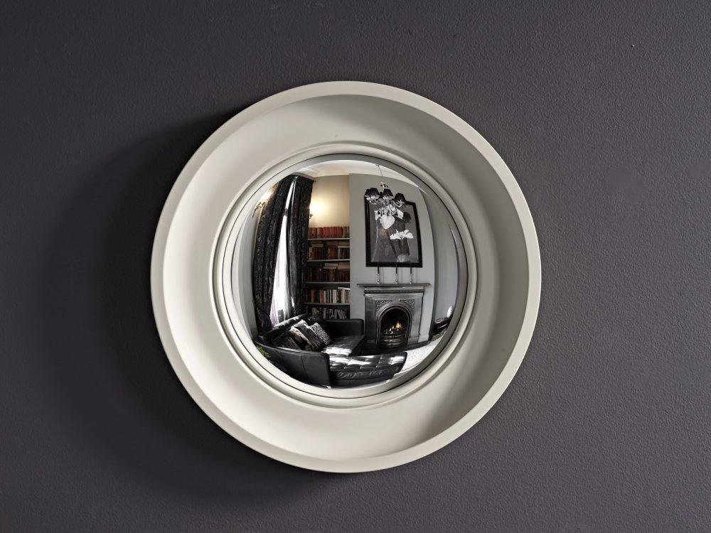 Small Cavetto convex mirror in palest grey finish image