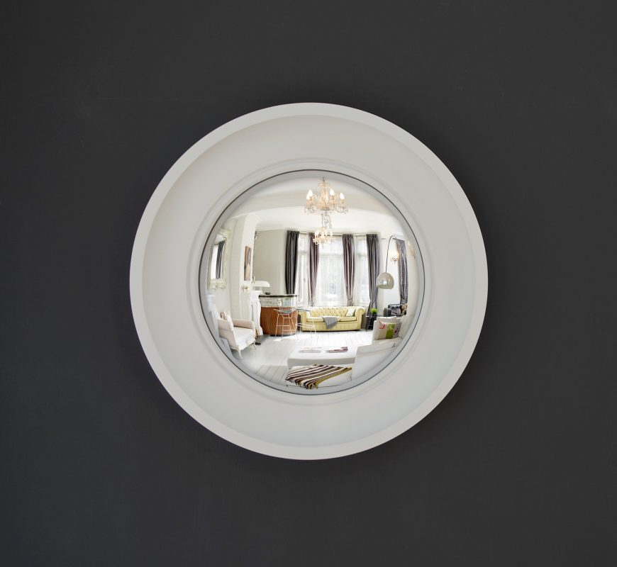 Small Cavetto convex mirror in off white finish image