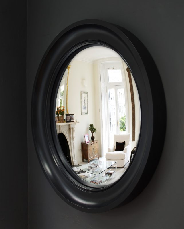 Large Cavetto convex mirror in waxed black finish image