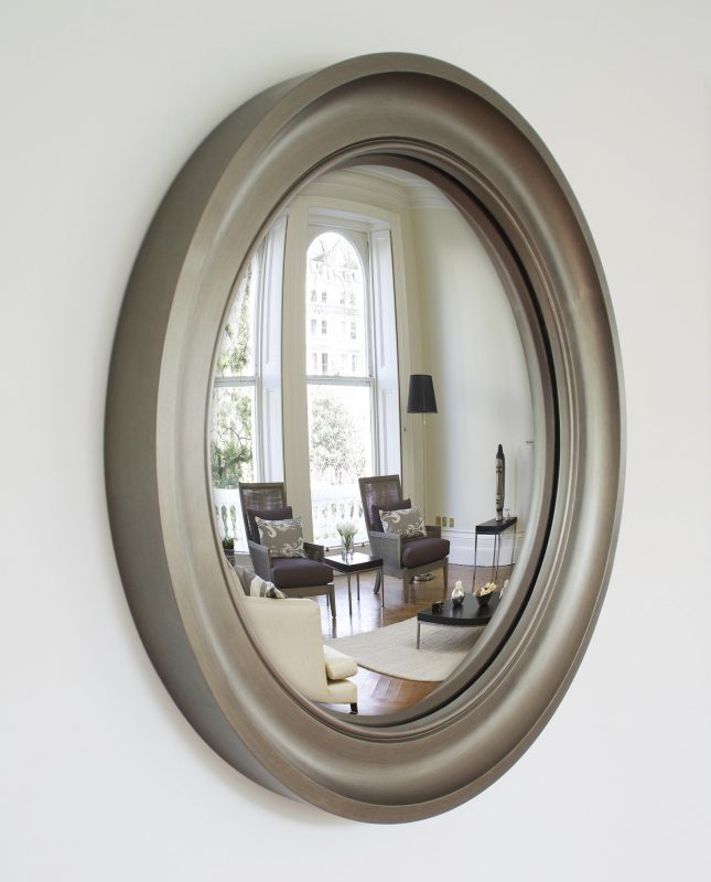 Large Cavetto convex mirror in pewter finish image