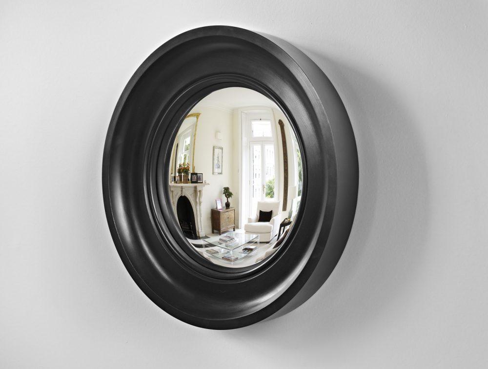 Small Cavetto decorative convex mirror in waxed black finish image