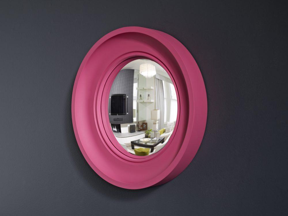 Small Cavetto decorative convex mirror in fuchsia pink finish image