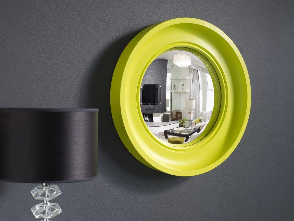 Small Cavetto decorative convex mirror in waxed neon finish image