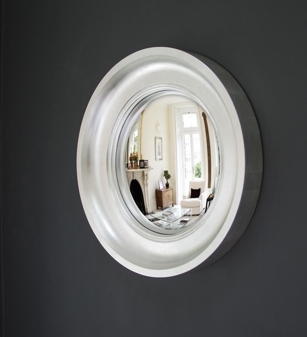 Small Cavetto decorative convex mirror in silver leaf finish image