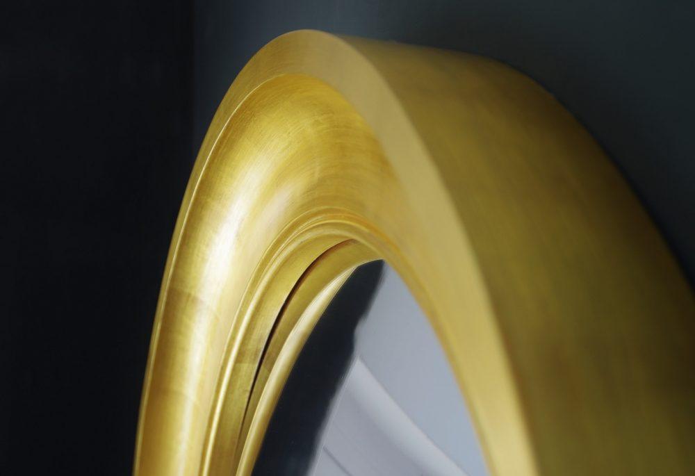 Cavetto decorative convex mirror in gold leaf image