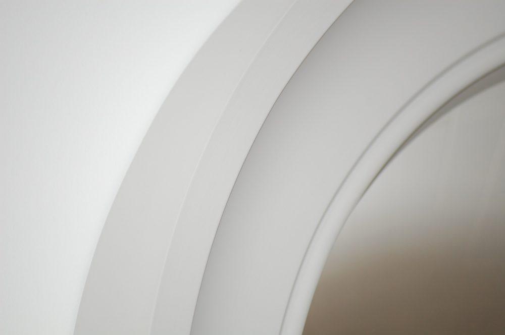 Medium Cavetto decorative convex mirror in palest grey image