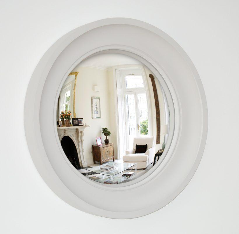 Image of Medium Cavetto decorative convex mirror in palest grey finish