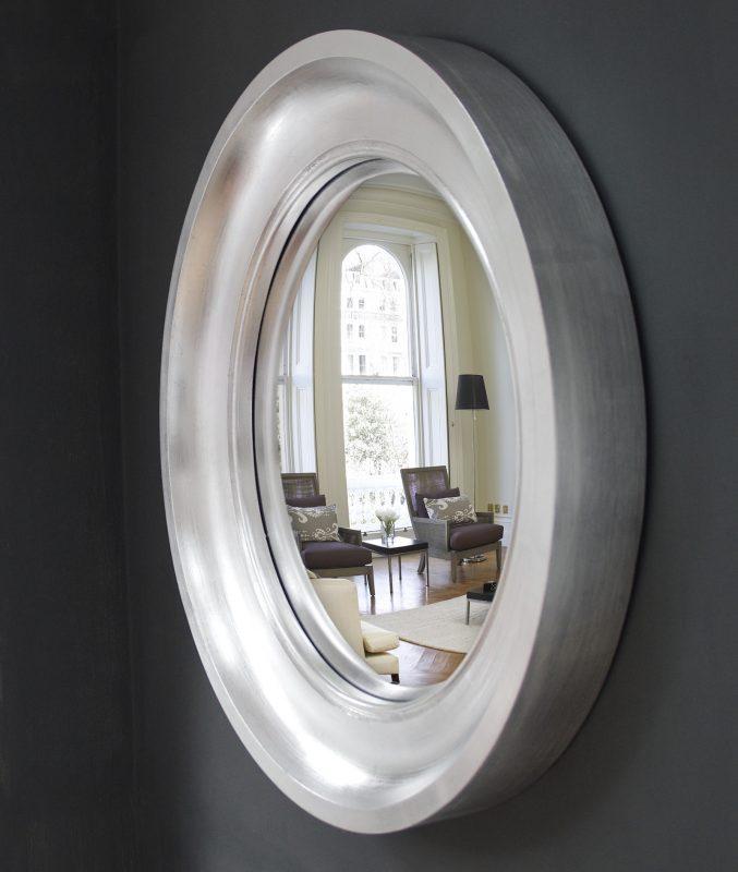 Medium Cavetto decorative convex mirror in silver leaf finish image