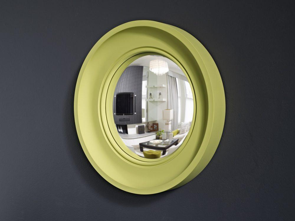 Image of Small Cavetto decorative convex mirror in pale lime finish