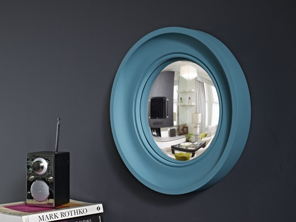 Image of Small Cavetto decorative convex mirror in teal finish