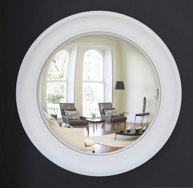 Large Cavetto decorative convex mirror in off white finish image
