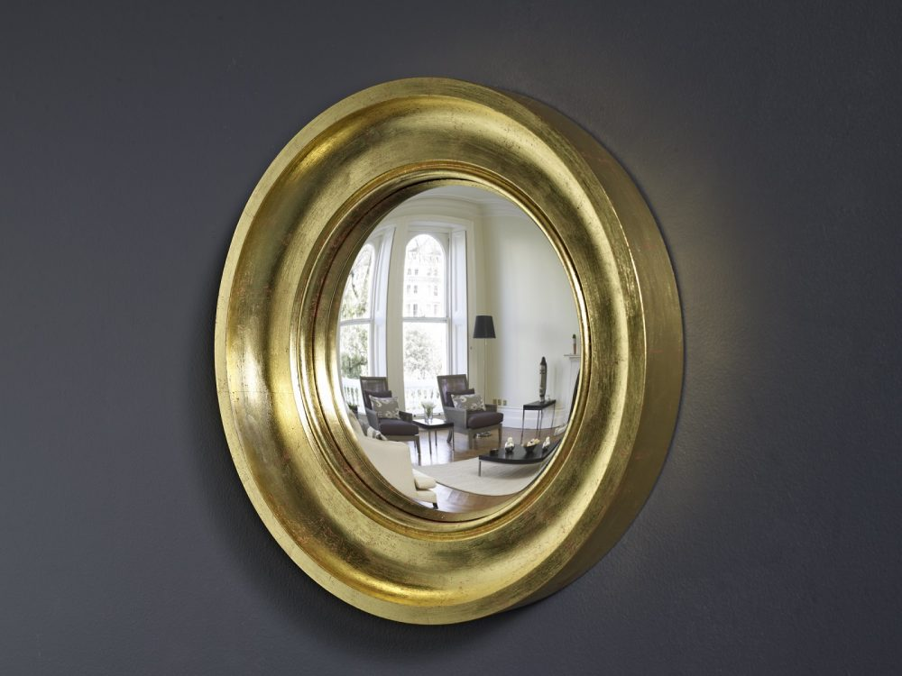 Small Cavetto decorative convex mirror in gold leaf finish image