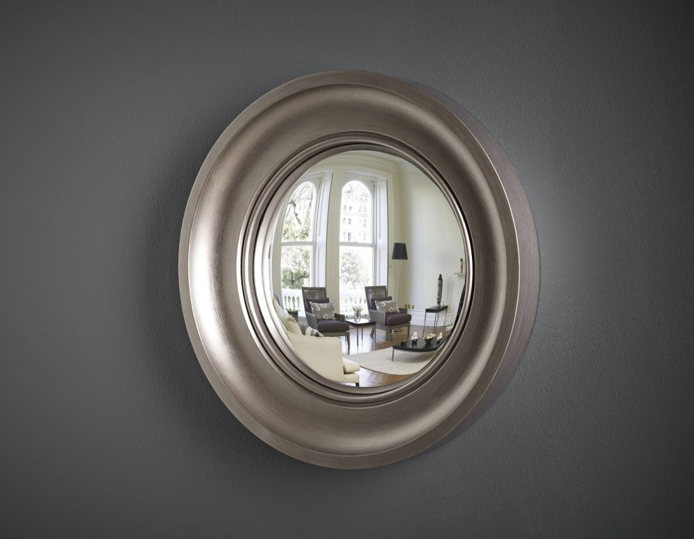 Small Cavetto decorative convex mirror in pewter finish image