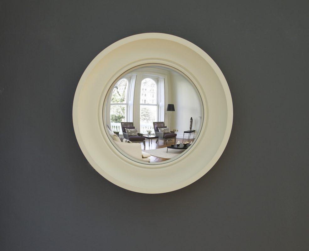 Small Cavetto convex mirror in fawn finish image
