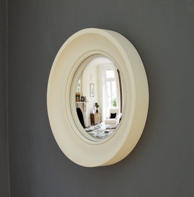 Small Cavetto decorative convex mirror in fawn finish image