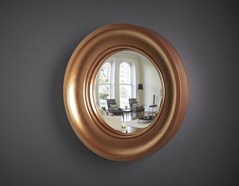 Cavetto decorative convex mirror in copper finish image