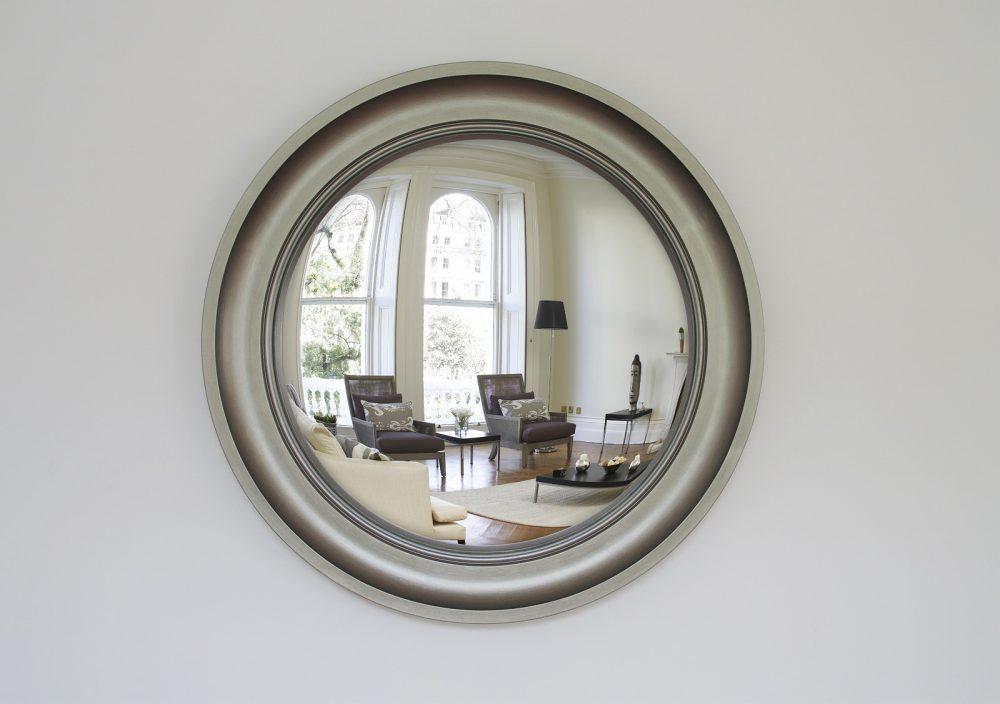 Large Cavetto decorative convex mirror in pewter finish image