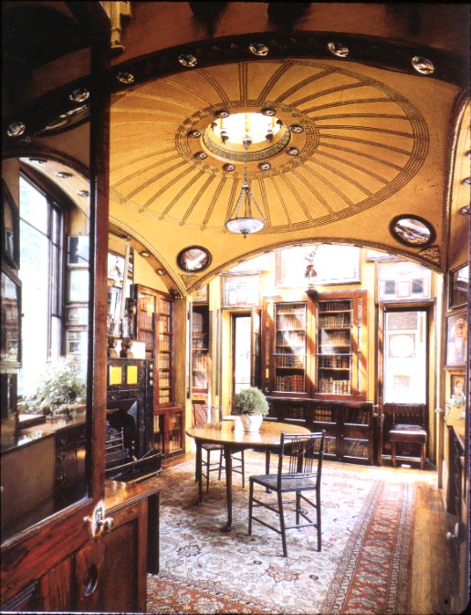 Soane's breakfast room with decorative convex mirrors adorning the ceiling