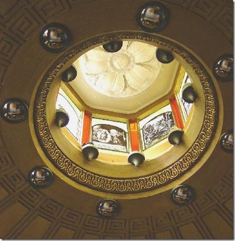 Interior ceiling inset with decorative convex mirrors
