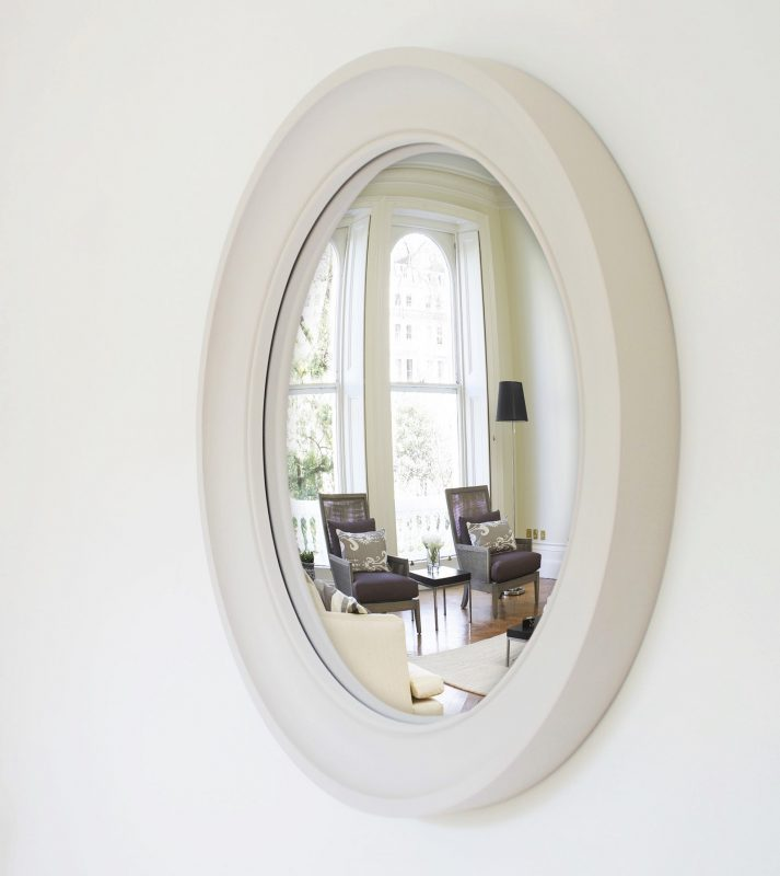 Large Cavetto convex mirror in palest grey finish image