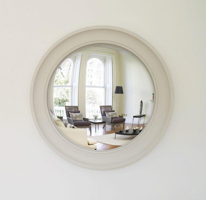 Large Cavetto decorative convex mirror in palest grey finish image