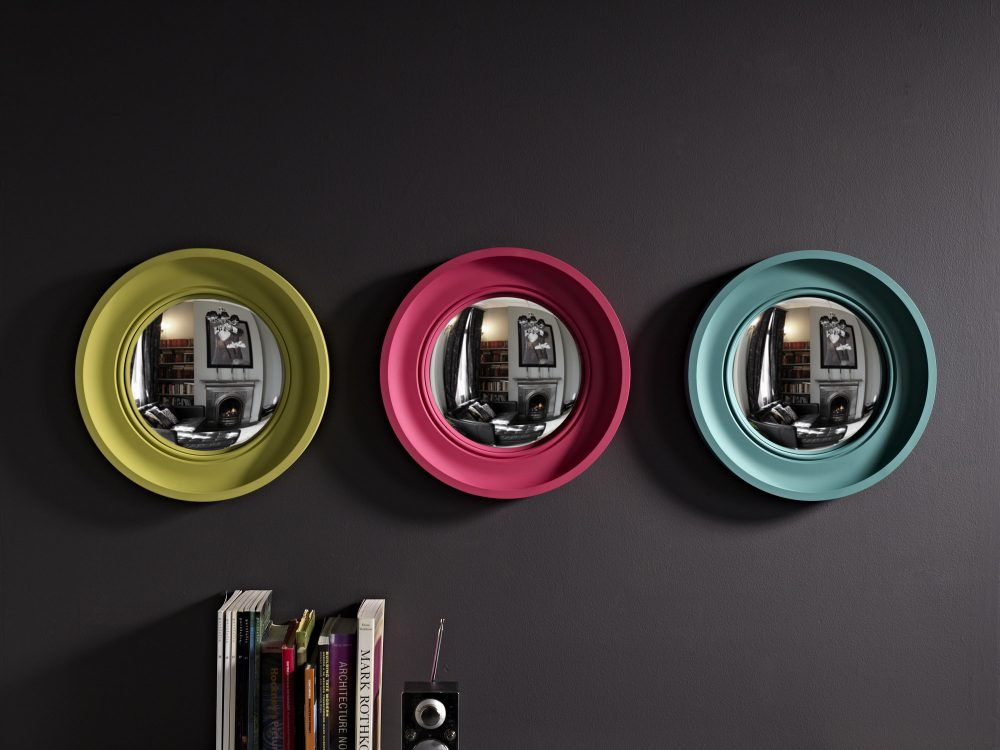 Image of Trio of Small Cavetto convex mirrors in palest lime, fuchsia & teal finishes