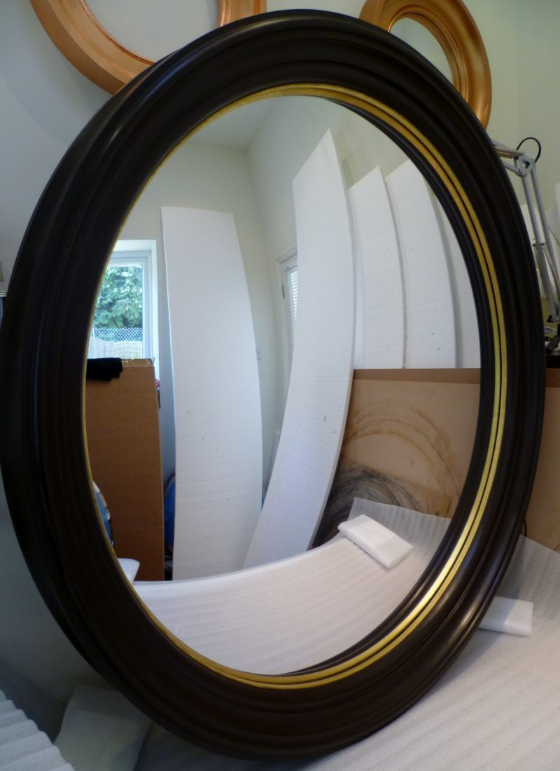 customised convex mirror with bespoke finish painted and gold bead image
