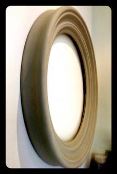 round mirror frame in bespoke finish