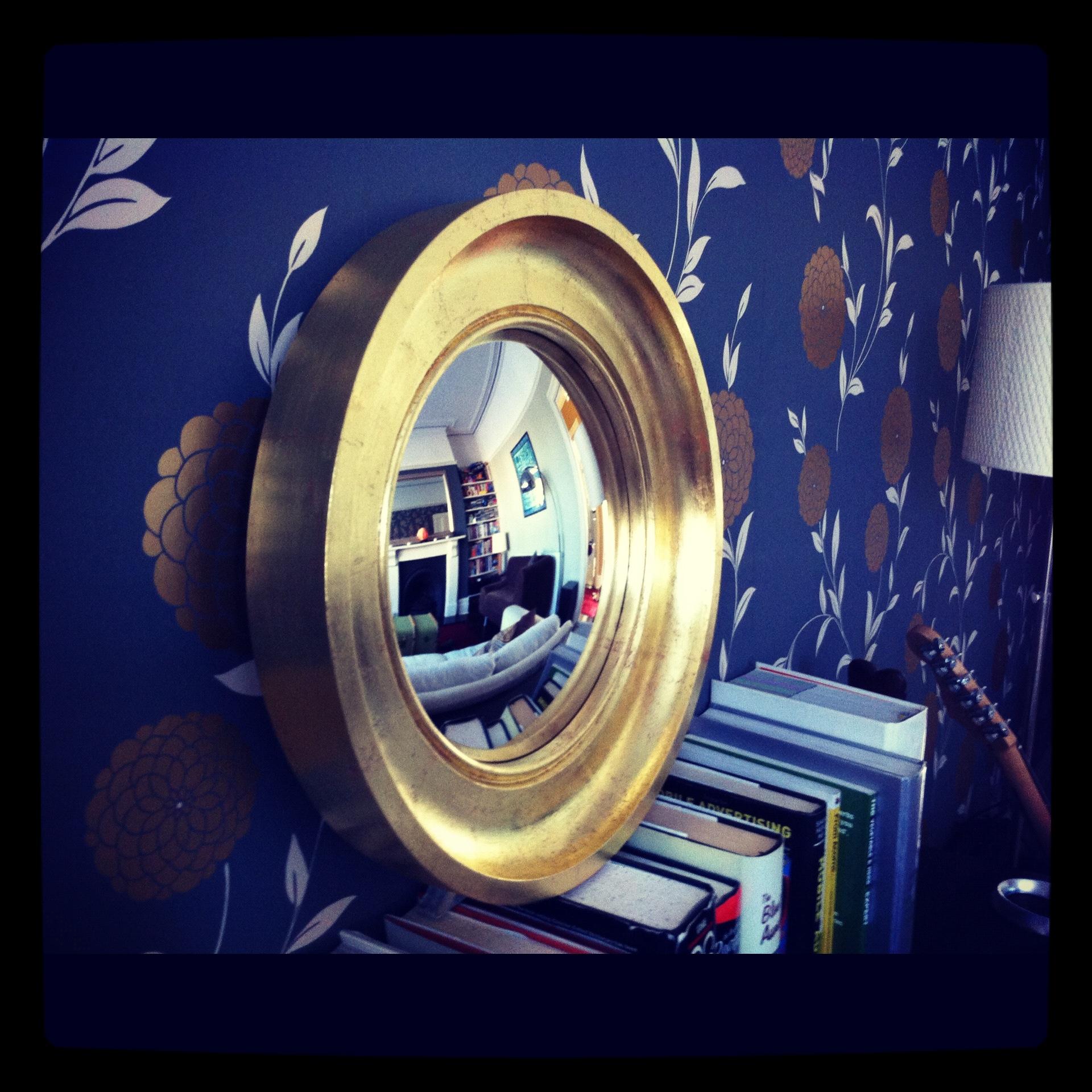 gold leaf decorative convex mirror