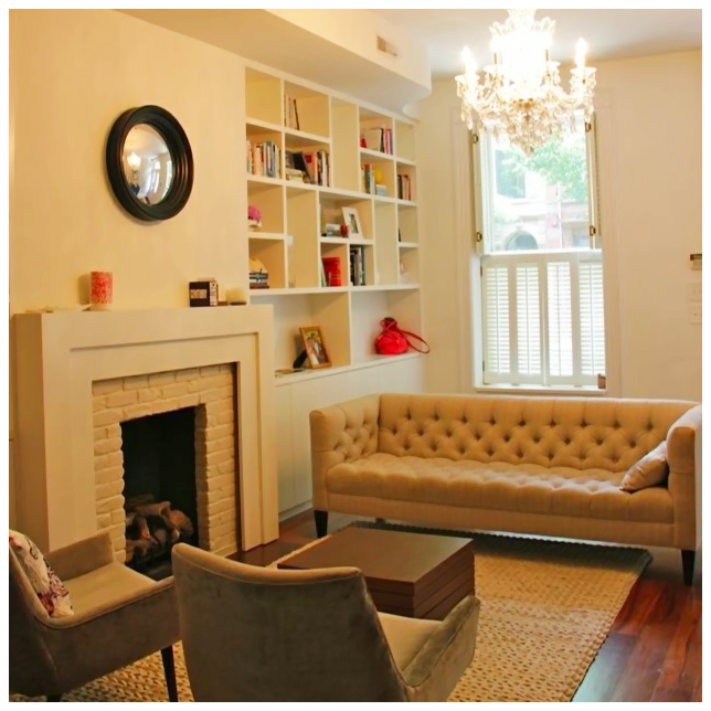 image of black framed convex mirror in a living room above a fireplace