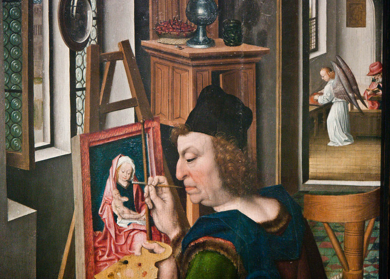 In the painting, a convex mirror hangs on a column between two windows.