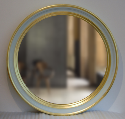 Decorative Convex Mirror In Gold And Green Image