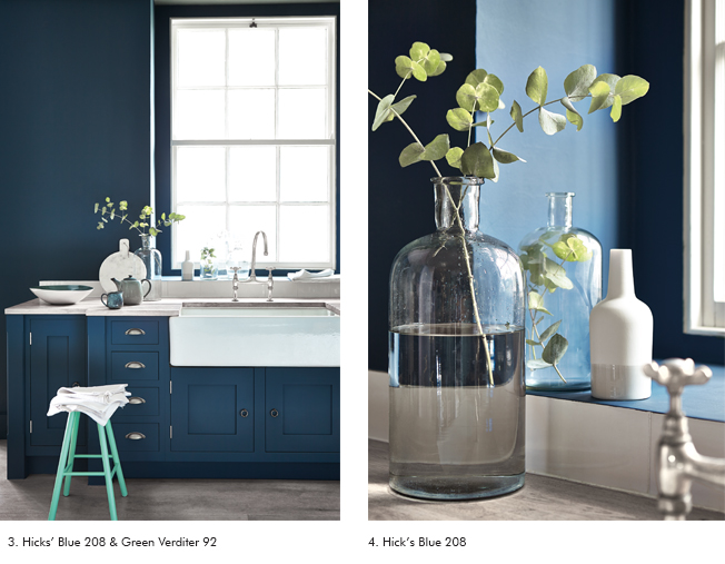 blue and green paint on kitchen walls image