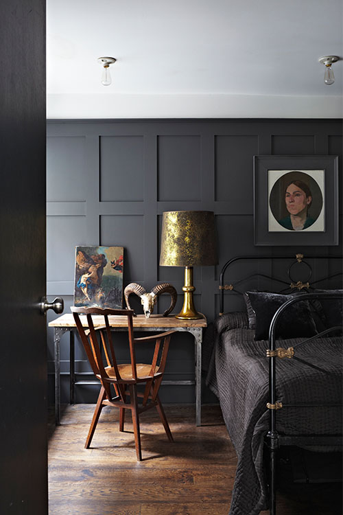 dark blue painted wall panel image