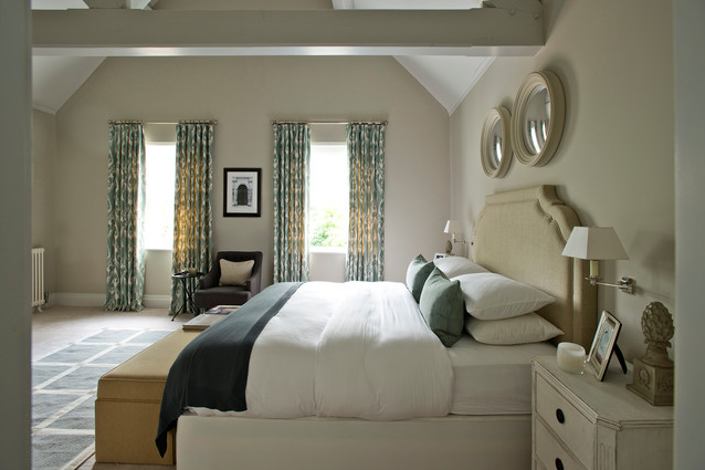 convex mirrors hanging in a bedroom image