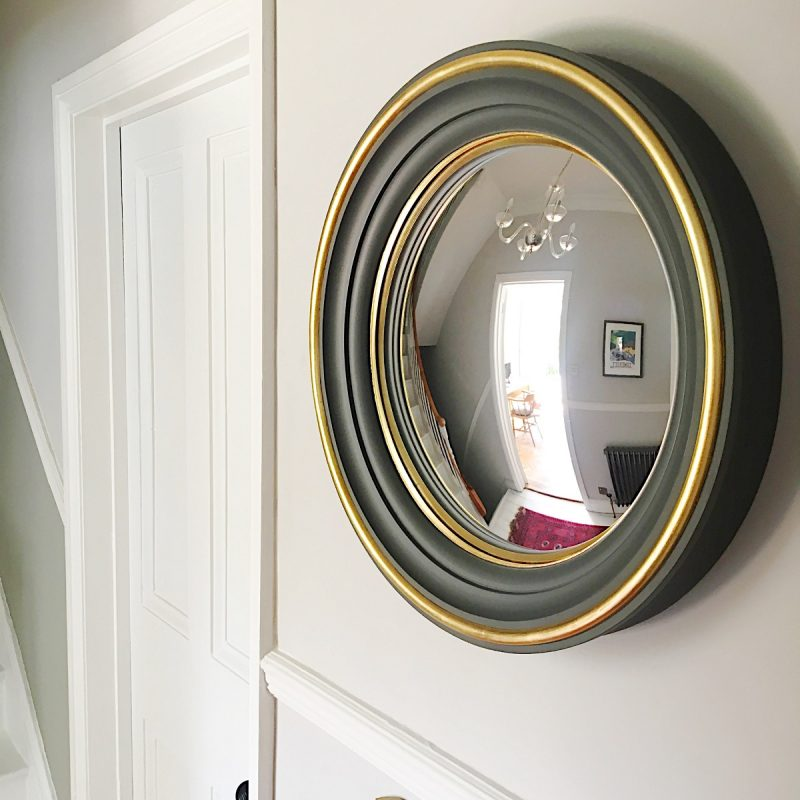 Charcoal grey brass detail convex mirror image