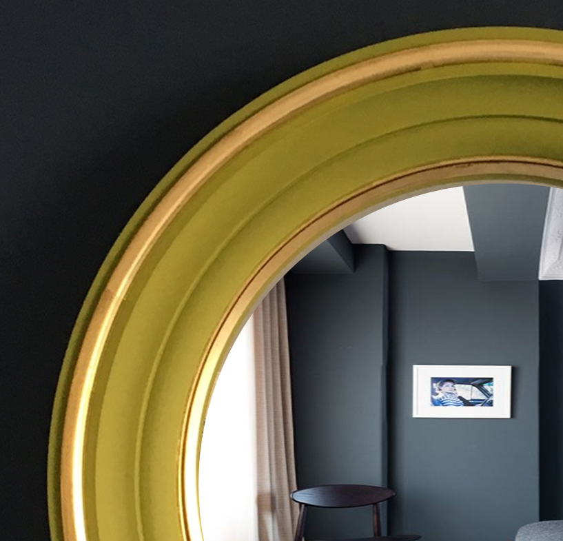 convex mirror green and brass image
