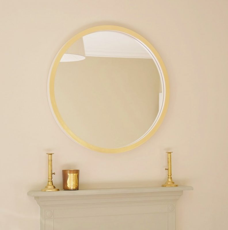 image Marcel large round mirror in white gesso and gold leaf image