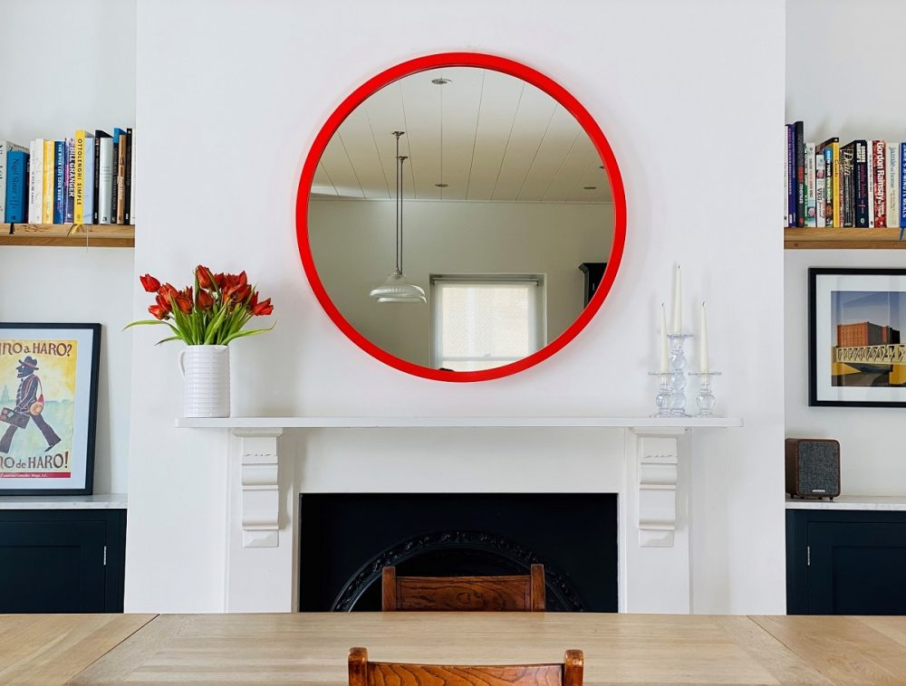 Large round mirror in red lacquer colour image