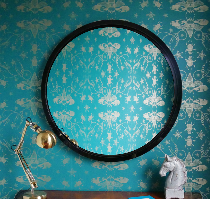 Wall Mirror Large Round in Black Lacquer image