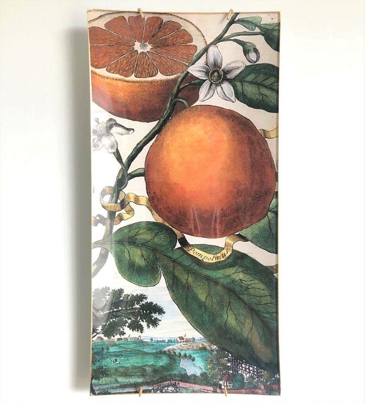 glass decoupage plate grapefruit image
