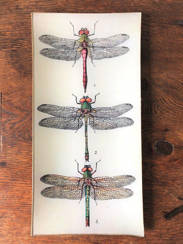 Dragonflies decoupage plate image