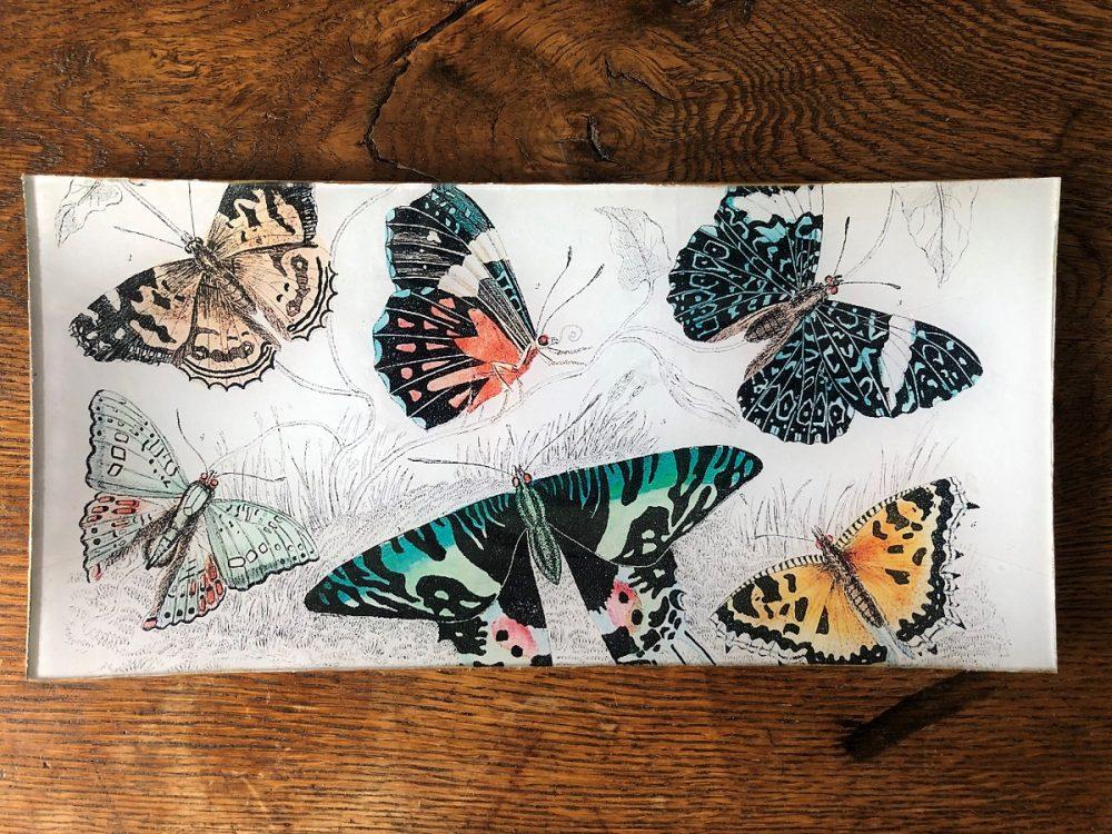 butterflies decoupage plate image