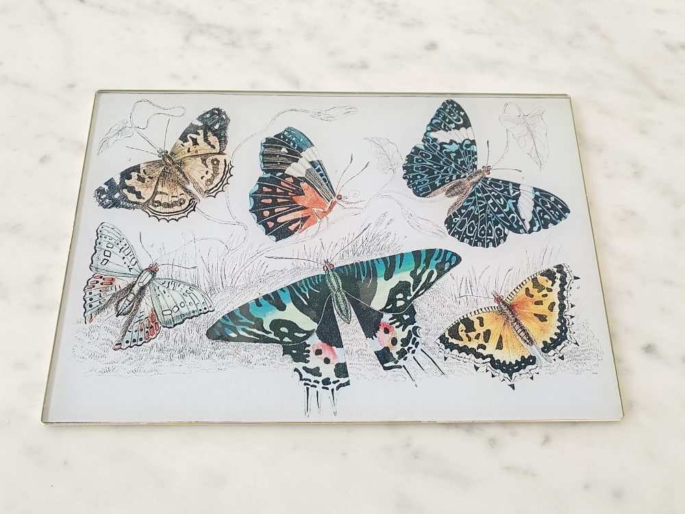 butterflies decoupage glass placemat image