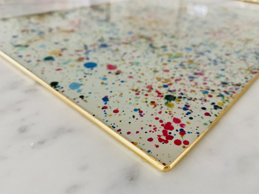 paint splatter worktop saver gold edge image